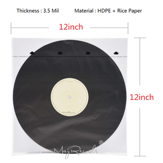 20 HDPE + Rice Paper 3.5 Mil Anti-static Inner Sleeves For 12'' LP Vinyl Record High Quality