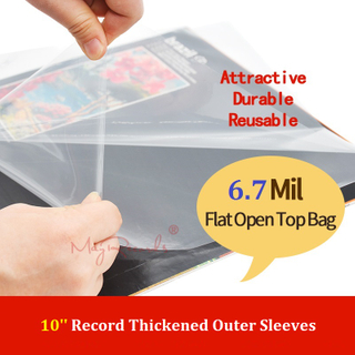 25 Flat Open Top Bag 6.7Mil Plastic Vinyl Record Outer Sleeves for 10'' Record